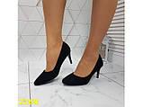 Туфли лодочки замшевые на низком каблуке черные 36, 37, 39 (2268), фото 8