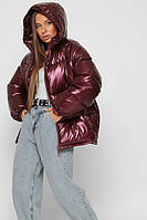 Куртка пуховик зимняя женская оверсайз с капюшоном спортивная бордовая