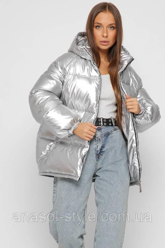 Куртка пуховик зимняя женская оверсайз спортивная с капюшоном  серебро