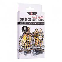 """Набір маркерів """"SANTI sketch"""" """"Urban Scetch"""" 6 штук 390548"""