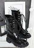 Высокие ботинки на шнуровке лак кожа 7514-28, фото 3