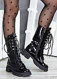 Высокие ботинки на шнуровке лак кожа 7514-28, фото 4