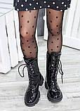 Высокие ботинки на шнуровке лак кожа 7514-28, фото 5