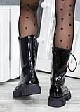 Высокие ботинки на шнуровке лак кожа 7514-28, фото 6