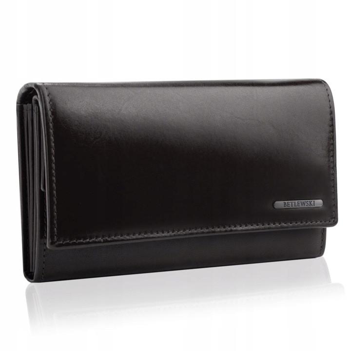 Жіночий шкіряний гаманець Betlewski з RFID 16,5 х 9,7 х 3,5 (BPD-VTC-10) - чорний