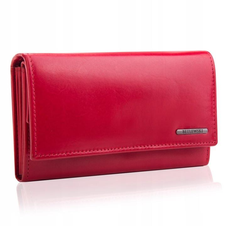 Шкіряний гаманець BETLEWSKI з RFID 16,5 х 9,7 х 3,5 (BPD-VTC-10) - червоний