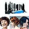 Фен-стайлер для волос 10 в 1 Gemei GM-4833 - воздушный стайлер, фен-щетка, набор для укладки волос Синий, фото 4