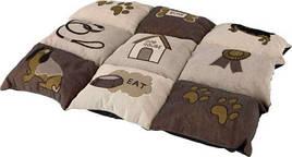 Матрац -лежанка для собак і кішок Patchwork Trixie 55х40 см коричнево-бежевий з собачками