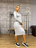 Платье женское трикотажное длинное карандаш с рукавом, фото 3