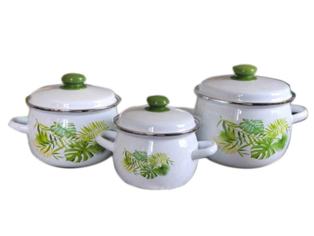 Набор эмалированной посуды IDILIA Монстера 3 предмета (№929)