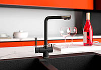 Смеситель кухонный с подключением к фильтру KAHER ZEGOR 12 черный