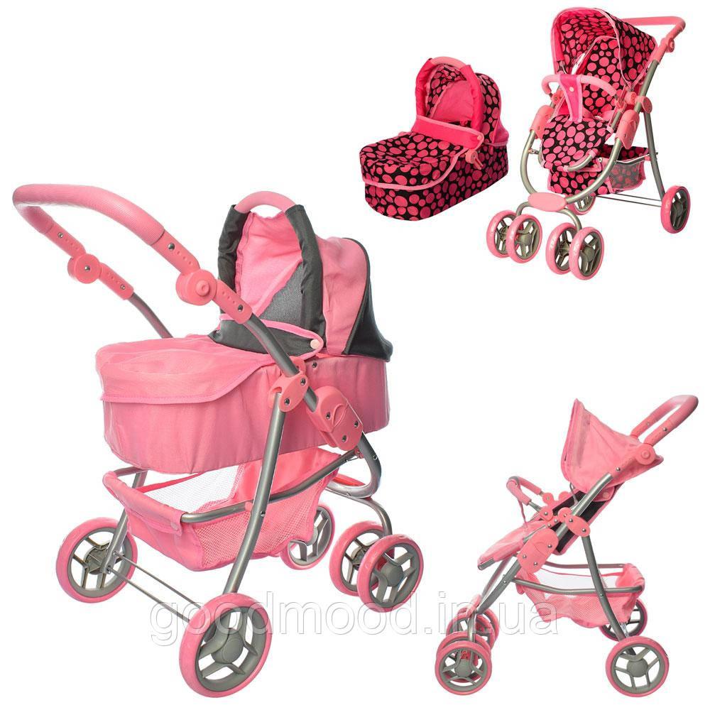 Візок 9662M для ляльки, мет., прогулянковий/класика, подвійні колеса, оберт., кошик, кор.