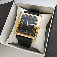 Мужские наручные часы Emporio Armani (армани) на кожаном ремешке, золото, черный циферблат - код 1626