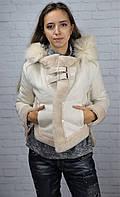 Дублёнка текстильная Отменное качество. Цвет: молочный, капучино Размер М, L (22009)