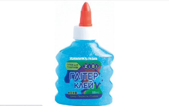 Клей для слайма Zibi Неон Глиттер прозрачный голубой, фото 2