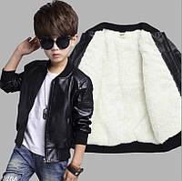 Детская кожаная курточка на мальчика с мехом