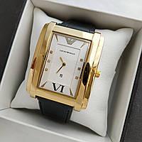 Мужские наручные часы Emporio Armani (армани) на кожаном ремешке, золото, золотой циферблат - код 1629