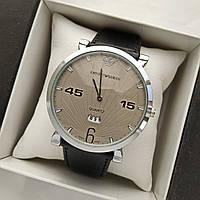 Мужские наручные часы Emporio Armani (армани) на кожаном ремешке, серебро, серый циферблат - код 1631