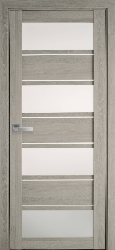 """Дверь межкомнатная остеклённая новый стиль Мода """"Элиза BLK,G"""" 60-90 см дуб дымчатый"""