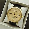 Мужские наручные часы Emporio Armani (армани) на кожаном ремешке, золото, золотистый циферблат - код 1633