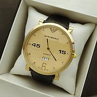 Мужские наручные часы Emporio Armani (армани) на кожаном ремешке, золото, золотистый циферблат - код 1633, фото 1