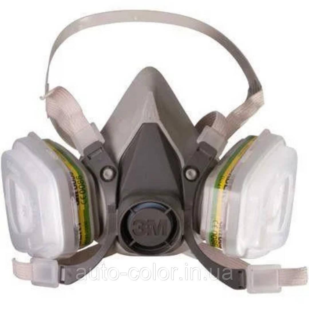 Полумаска 3М 6200+фильтра 6057+пыльники 5911+держатели 501 (комплект)