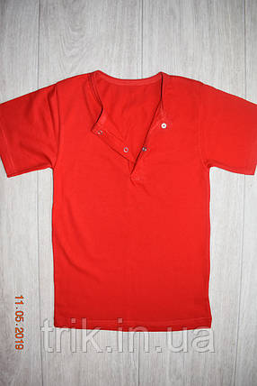 Футболка для девочек красная застежка-кнопка, фото 2