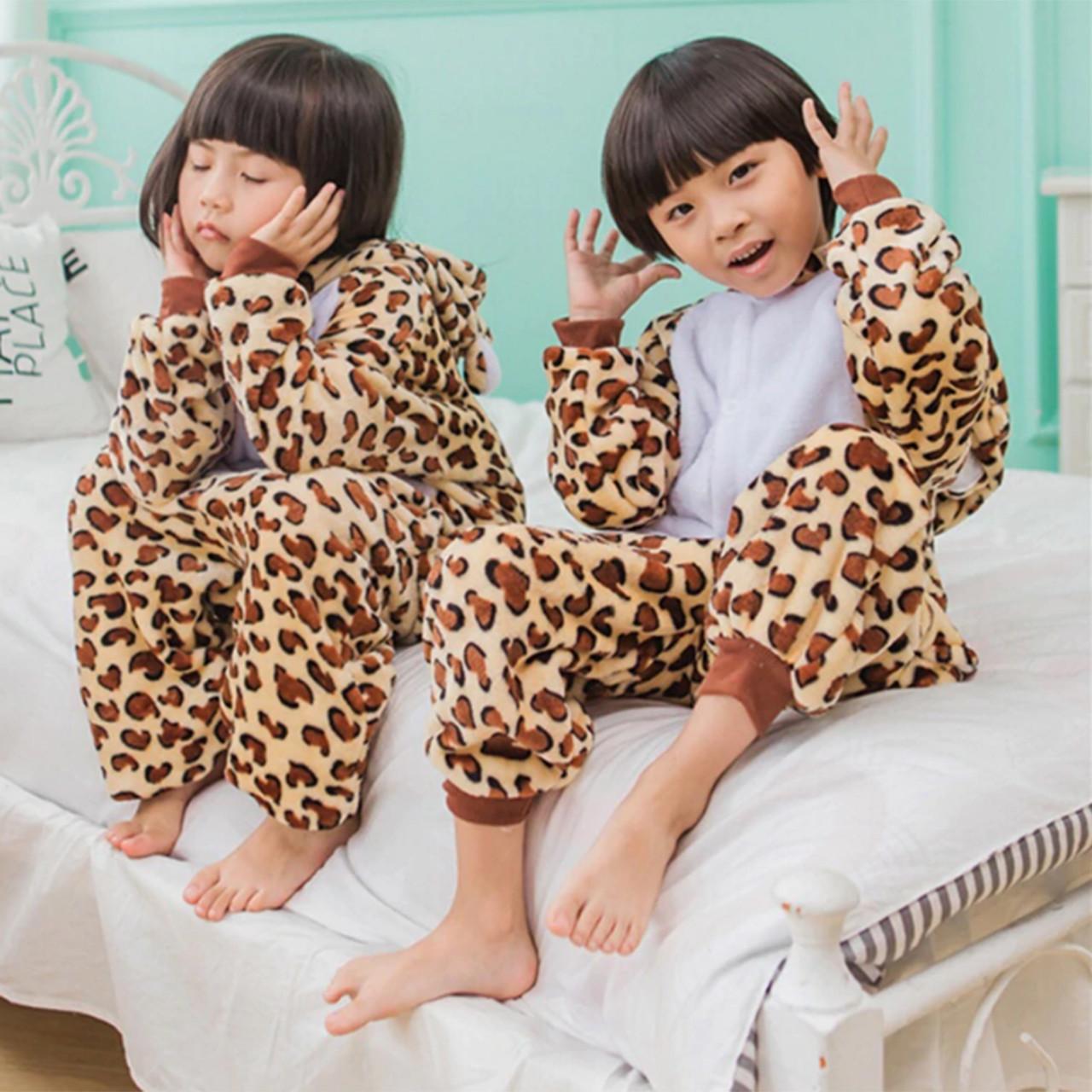 Детская пижама кигуруми с леопардом цельная детская пижама комбинезон кигуруми