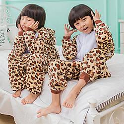 Дитяча піжама кигуруми з леопардом цілісна дитяча піжама комбінезон кигуруми, розмір 140