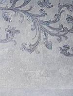 Обои виниловые на флизелине Grandeco Virtuoso метровые завитки вензеля серебром широкая полоса на серо голубом, фото 1