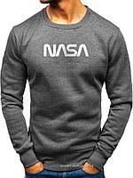 Утепленный мужской свитшот NASA (ЗИМА) темно серый с начесом (большая белая эмблема) реплика