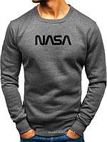 Утепленный мужской свитшот NASA (ЗИМА) темно серый с начесом (большая черная эмблема) реплика