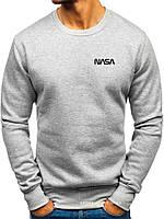 Утепленный мужской свитшот NASA (ЗИМА) светло серый с начесом (маленькая эмблема) реплика