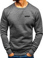 Утепленный мужской свитшот NASA (ЗИМА) темно серый с начесом (маленькая черная эмблема) реплика