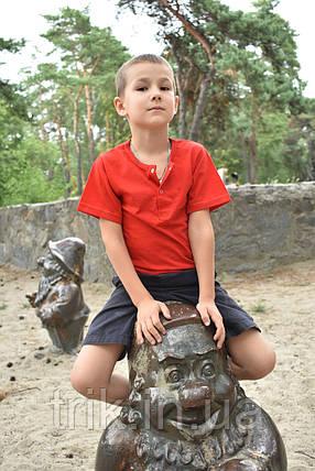 Футболка красная для мальчика застежка-кнопка, фото 2
