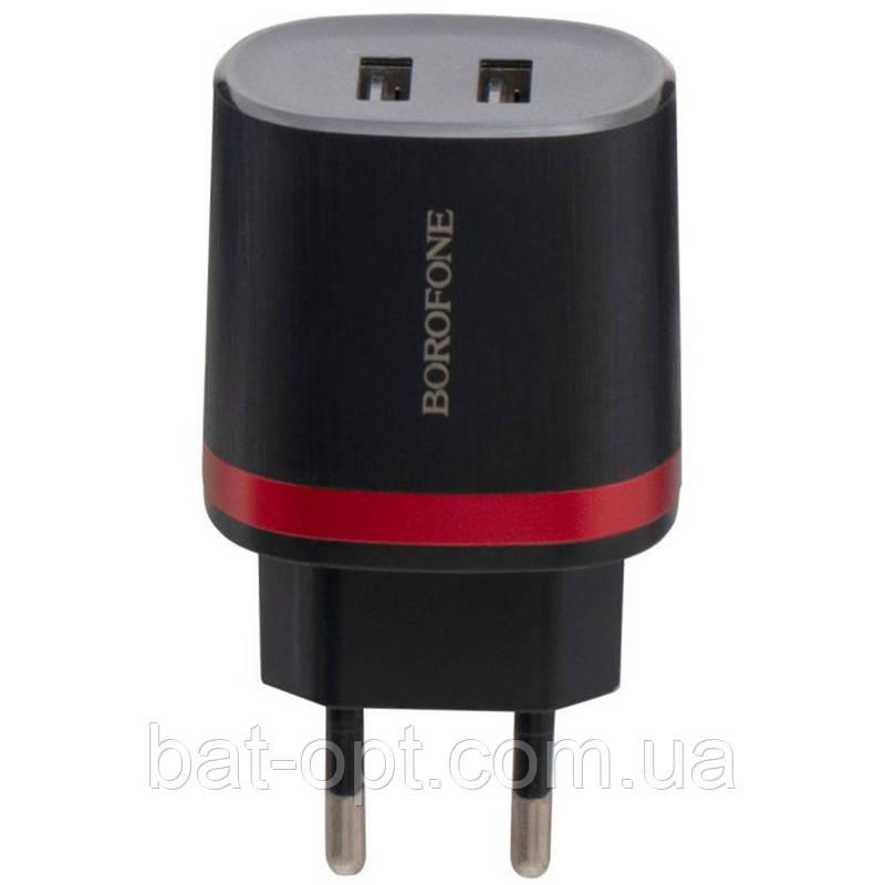 Сетевое зарядное устройство Borofone BA7A 2USB 2.1A черный