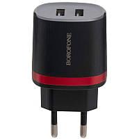 Сетевое зарядное устройство Borofone BA7A 2USB 2.1A черный, фото 1