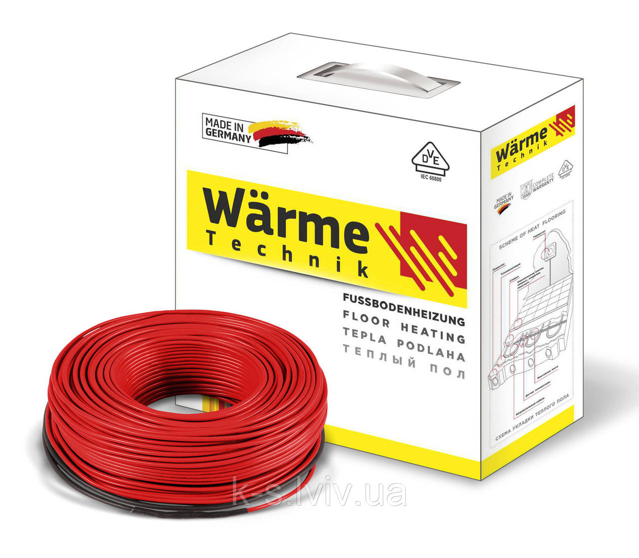 Двожильний нагрівальний кабель Варм (Wärme) Twin cable - 450W/18 Вт (площа обігріву 2,5-3,8м²)
