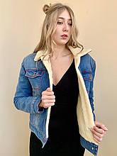 Джинсовая курточка короткая с меховой подкладкой