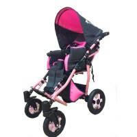 Детское кресло-коляска CHILD 1 серо-розовая