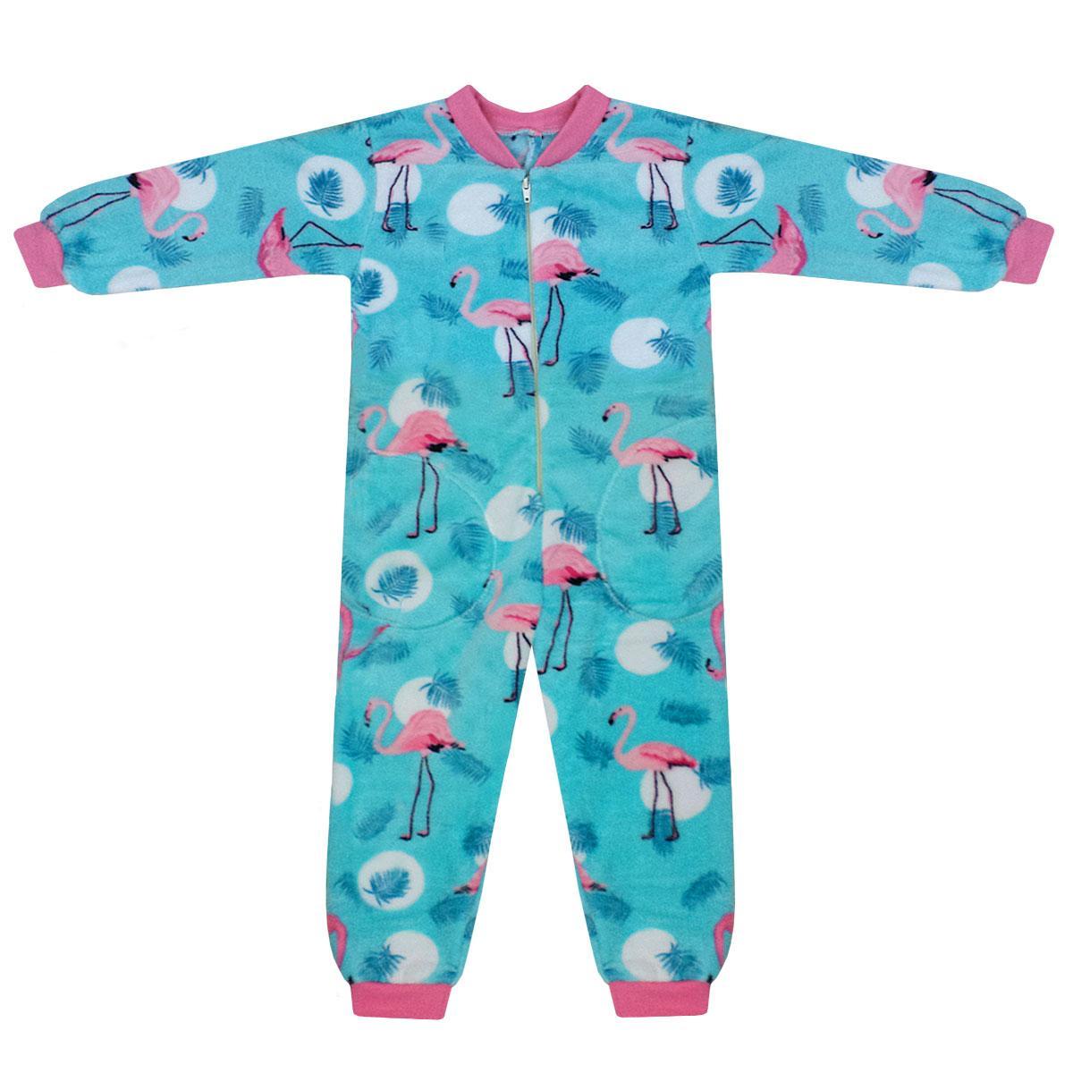 Кігурумі піжама дитяча без капюшона Фламінго для дівчинки велсофт
