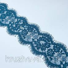 Ажурное французское кружево шантильи (с ресничками) голубого цвета шириной 8 см, длина купона 3,0 м.