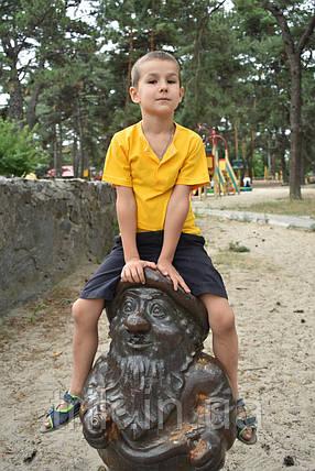 Желтая футболка на мальчика застежка-кнопка, фото 2