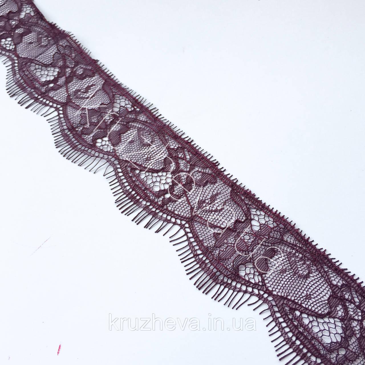 Ажурне французьке мереживо шантильї (з віями) відтінку бордо шириною 4,5 см, довжина купона 3,0 м.