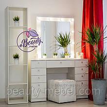 Широкий стол для визажиста с ящиками и зеркалом, цвет - белый.