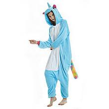 Пижама кигуруми Единорог женская цельная голубая L, XL