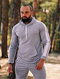 Чоловічий осінній спортивний костюм з лампасами (grey), фото 4