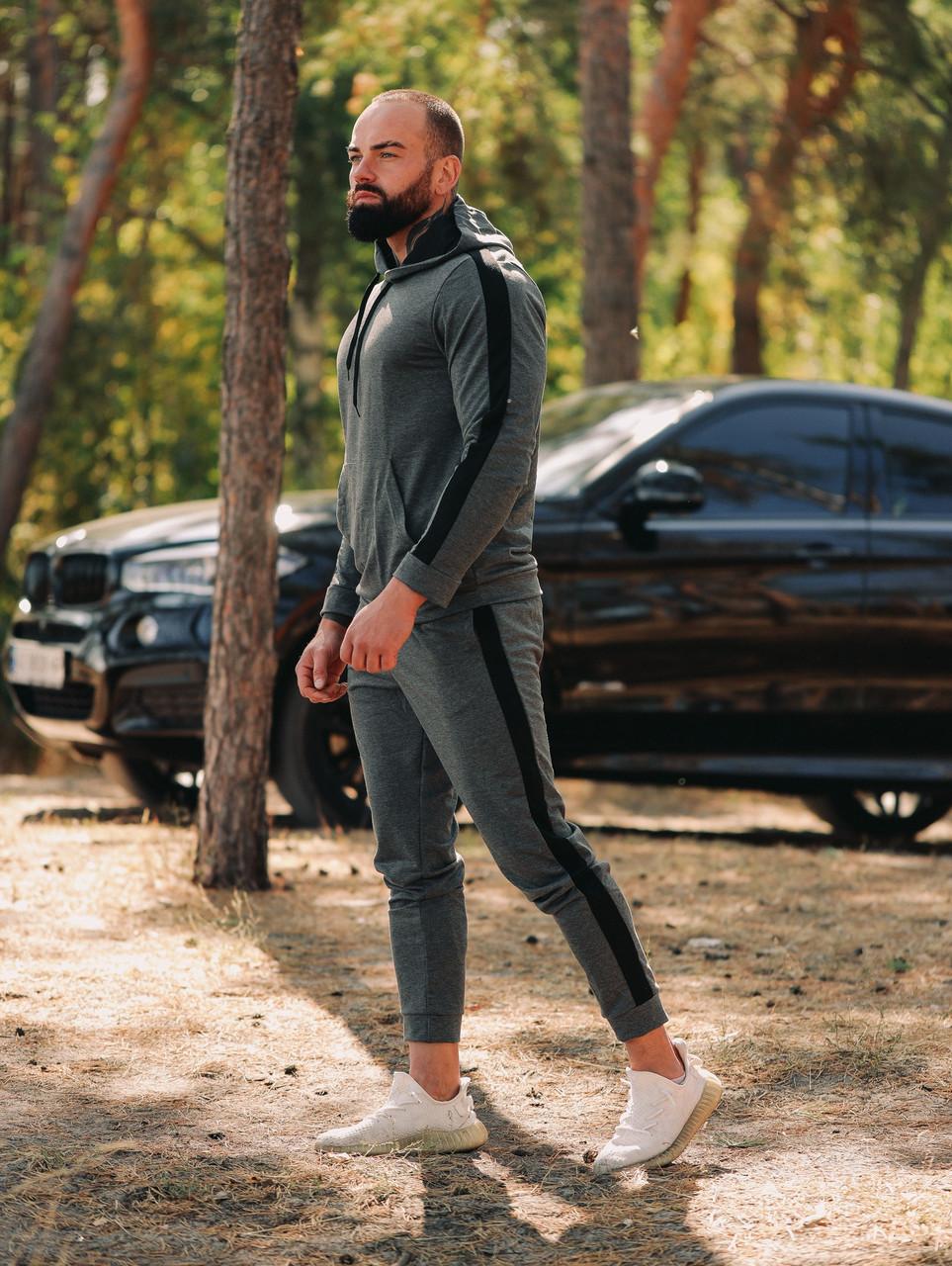 Мужской осенний спортивный костюм с лампасами (dark grey)