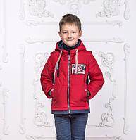 Демисезонная куртка-жилетка на мальчика 4-7 лет курточка детская бомбер весна-осень красная, фото 1