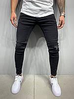 Джинсы мужские узкие чёрные с потёртостью Зауженные черные потёртые мужские джинсы демисезонные 30 размер